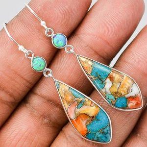 Women Fashion Opal Dangle Earrings 925 Silver